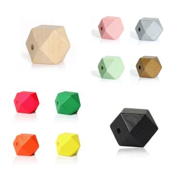 Holzperlen in Form von Polygonen
